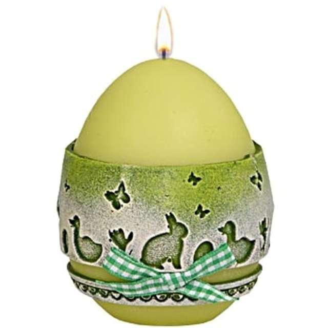 """Świeca """"Wielkanocne jajko z koronką"""", zielona, Adpal, 9cm"""