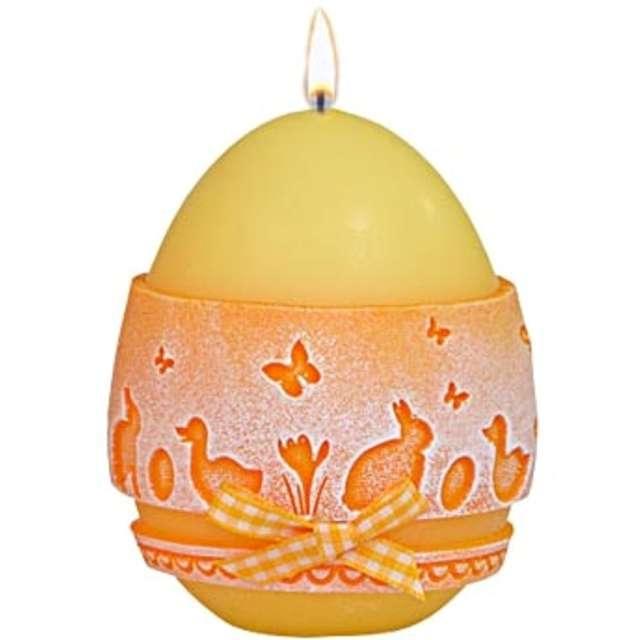 """Świeca """"Wielkanocne jajko z koronką"""", żółta, Adpal, 9cm"""