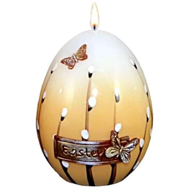 """Świeca """"Wielkanocne jajko z baziami"""", biało-brazowa, 9cm"""