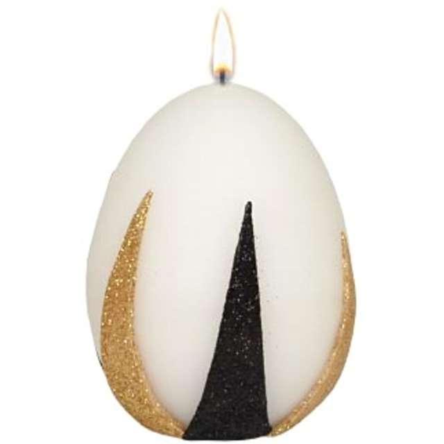 """Świeca """"Wielkanocne jajko z pasami złoto-czarnymi"""", biała, Adpal, 9cm"""