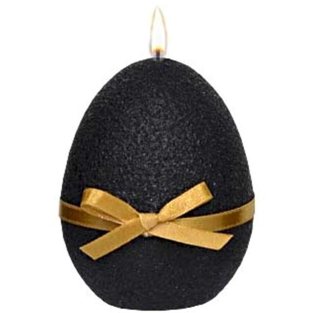 """Świeca """"Wielkanocne jajko z kokardką"""", czarna, Adpal, 9cm"""