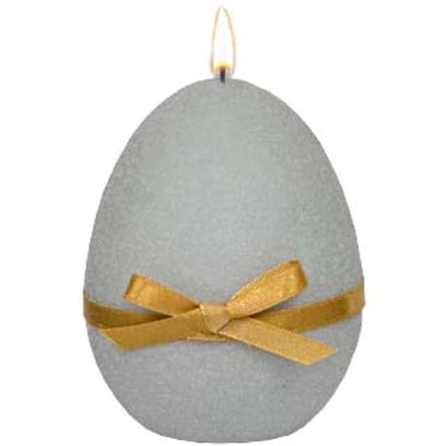 """Świeca """"Wielkanocne jajko z kokardką"""", szara, Adpal, 9cm"""