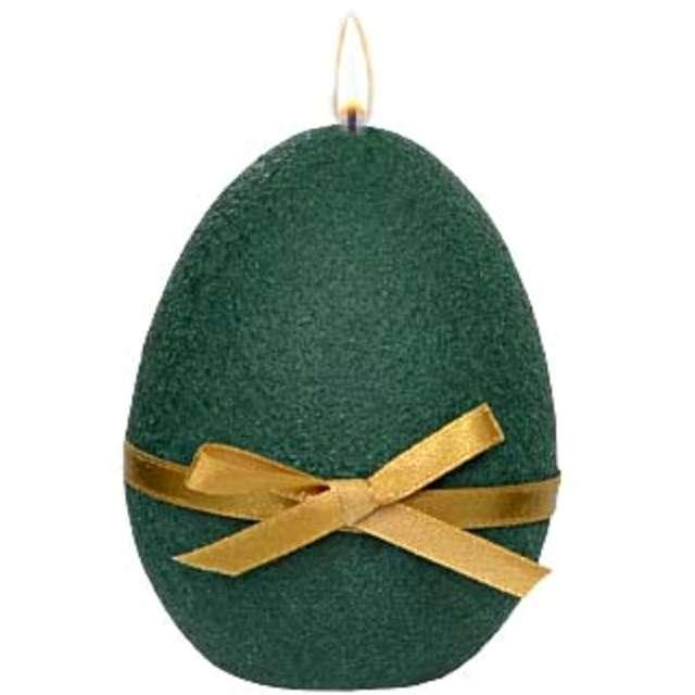 """Świeca """"Wielkanocne jajko z kokardką"""", zielona, Adpal, 9cm"""