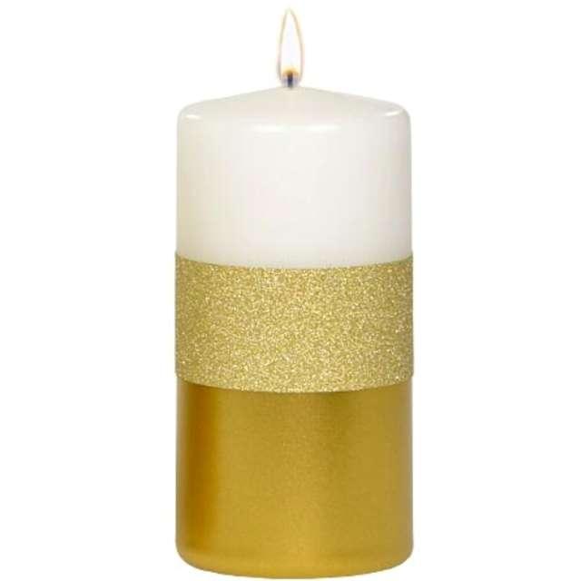 """Świeca pieńkowa """"Błyszczący metalik"""", biało-złota, Adpal, 120/58 mm"""