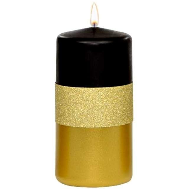 """Świeca pieńkowa """"Błyszczący metalik"""", czarno-złota, Adpal, 120/58 mm"""