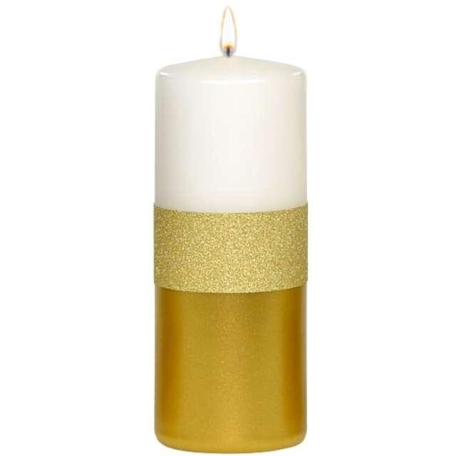 """Świeca pieńkowa """"Błyszczący metalik"""", biało-złota, Adpal, 150/58 mm"""