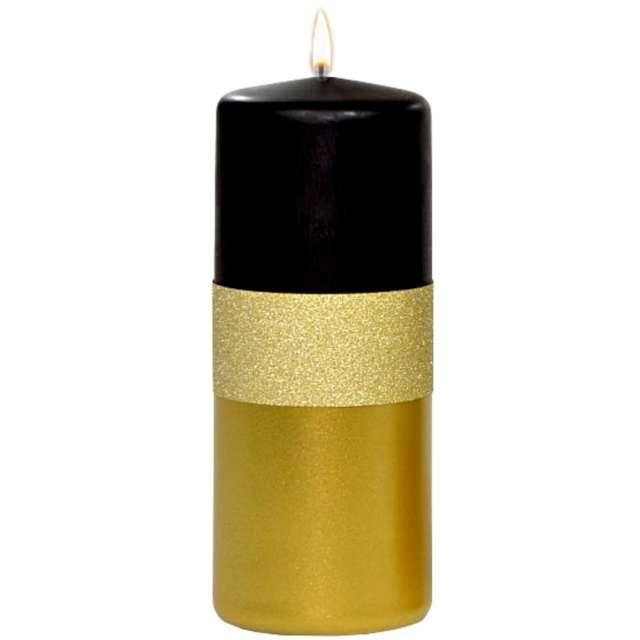 """Świeca pieńkowa """"Błyszczący metalik"""", czarno-złota, Adpal, 150/58 mm"""