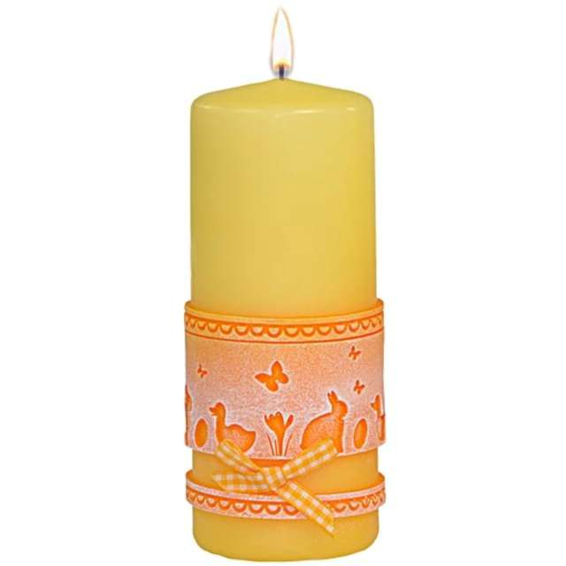 "Świeca pieńkowa ""Wielkanocna koronka"", żółta, Adpal, 150/58 mm"