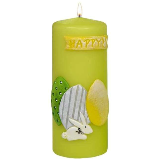 """Świeca pieńkowa """"Wielkanocne jajka"""", zielona, Adpal, 150/58 mm"""