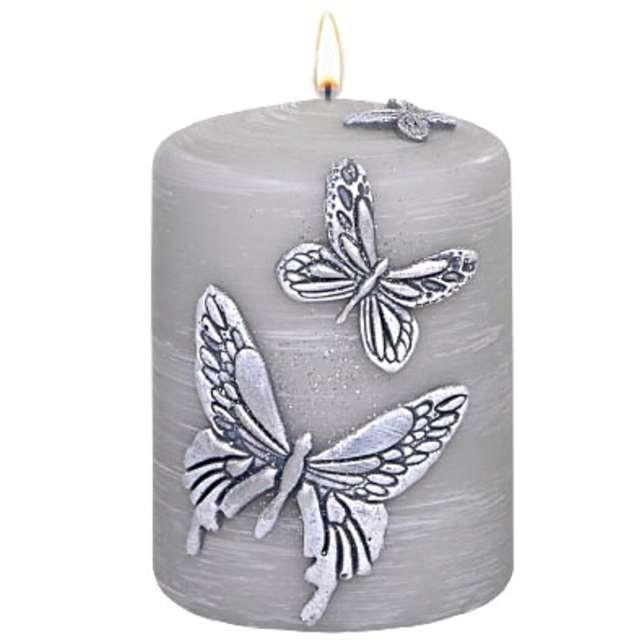 """Świeca pieńkowa """"Motyle"""", szary, Adpal, 100/70 mm"""