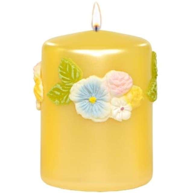 """Świeca pieńkowa """"Kwiaty"""", żółta, Adpal, 100/70 mm"""