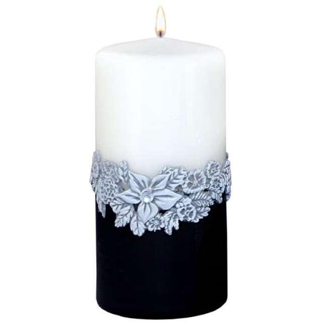 """Świeca pieńkowa """"Kwiaty"""", czarno-biała, Adpal, 150/70 mm"""