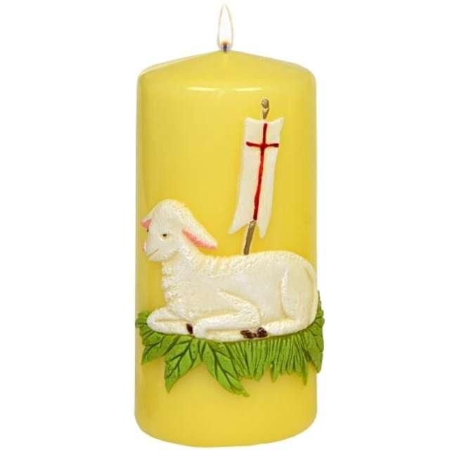 """Świeca pieńkowa """"Wielkanoc - Baranek paschalny"""", żółta, Adpal, 150/70 mm"""