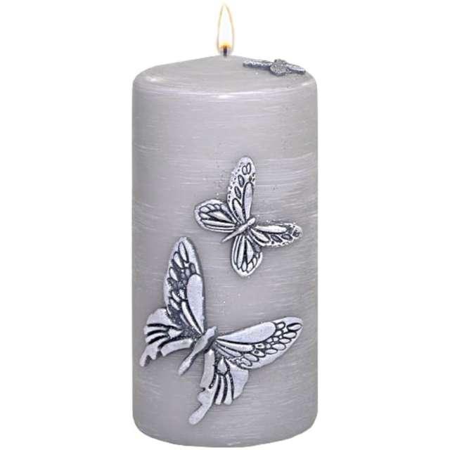 """Świeca pieńkowa """"Motyle"""", szara, Adpal, 150/70 mm"""