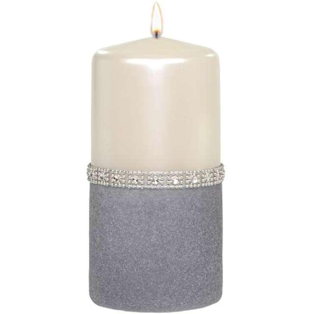 """Świeca pieńkowa """"Diament"""", perłowo-szara, Adpal, 150/70 mm"""