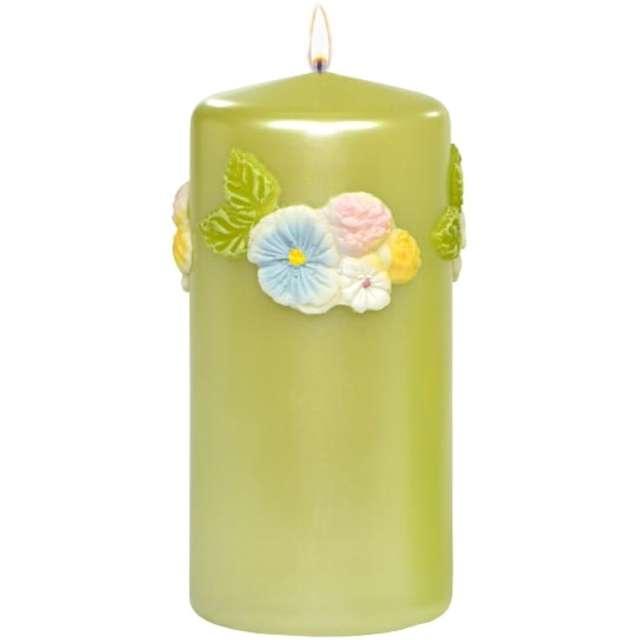 """Świeca pieńkowa """"Kwiaty"""", zielona, Adpal, 150/70 mm"""
