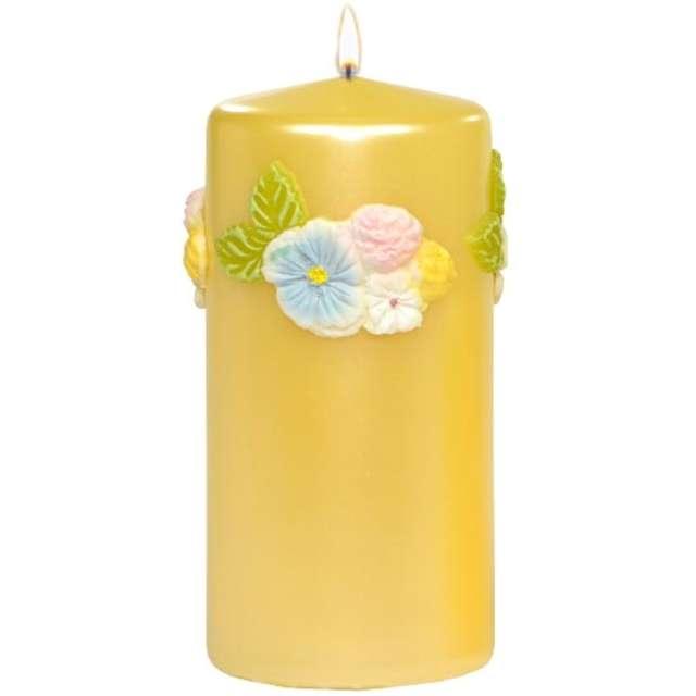 """Świeca pieńkowa """"Kwiaty"""", żółta, Adpal, 150/70 mm"""