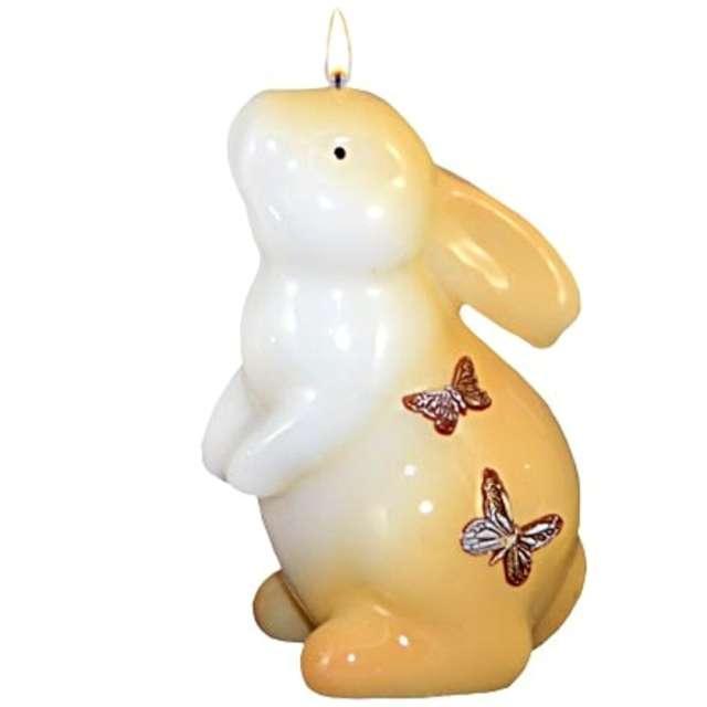 """Świeca """"Wielkanocna - Zając stojący"""", biało-brązowa, 11cm"""