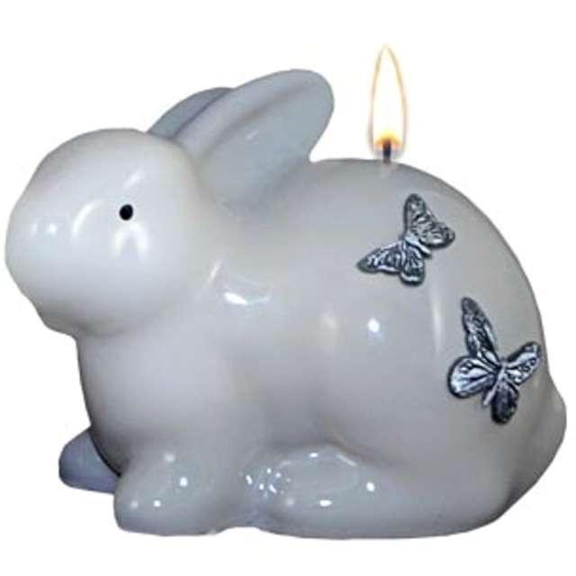 """Świeca """"Wielkanocna - Zając siedzący"""", biało-szara, 10cm"""