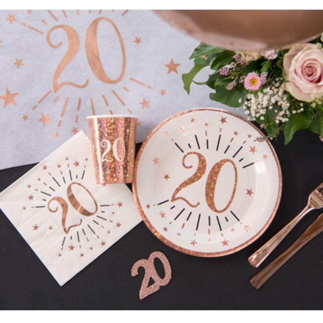 Serwetki 20 Urodziny - Gold-Rose SANTEX białe 33 cm 10 szt