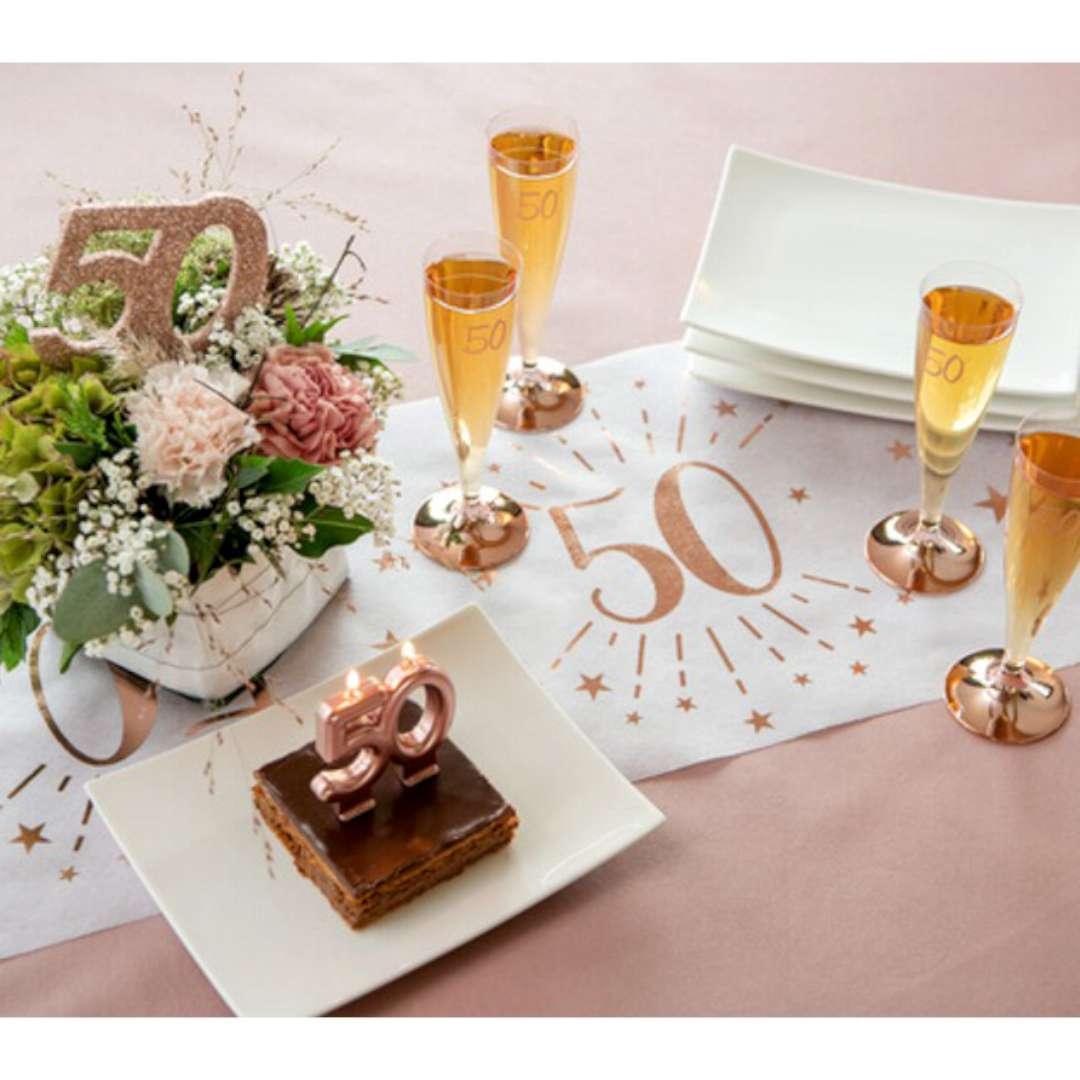 Bieżnik 80 urodziny - różowe-złoto biały SANTEX 500 x 30 cm