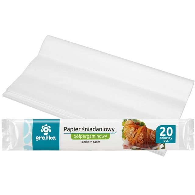 """Papier śniadaniowy """"Gratka"""", biały, Ravi, 23x33 cm, 20szt"""