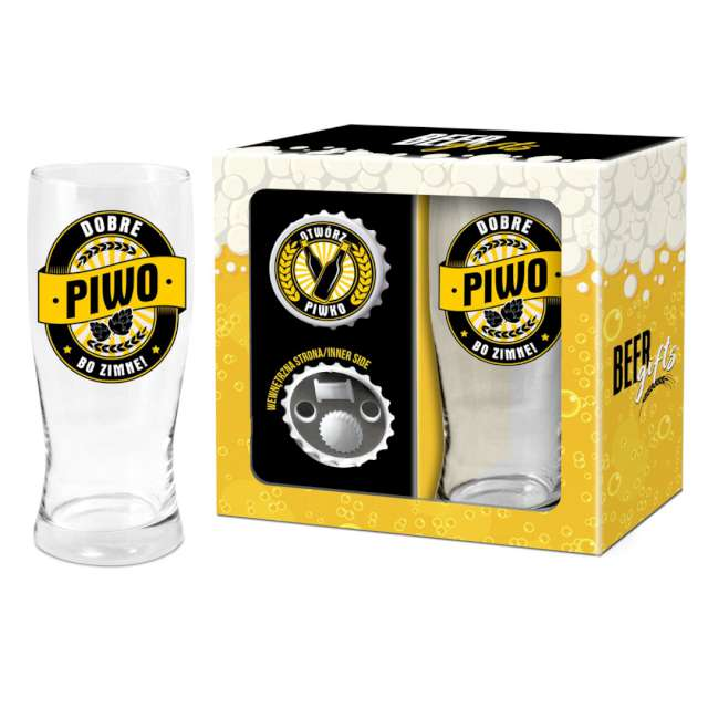 """Zestaw """"Pokal + otwieracz Dobre piwo..."""", BGTech, 500 ml"""
