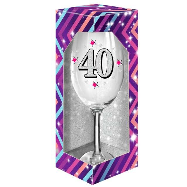 """Kieliszek do wina """"40 urodziny"""", brokat, BGTech"""