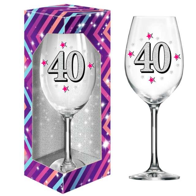 Kieliszek do wina 40 urodziny brokat BGTech