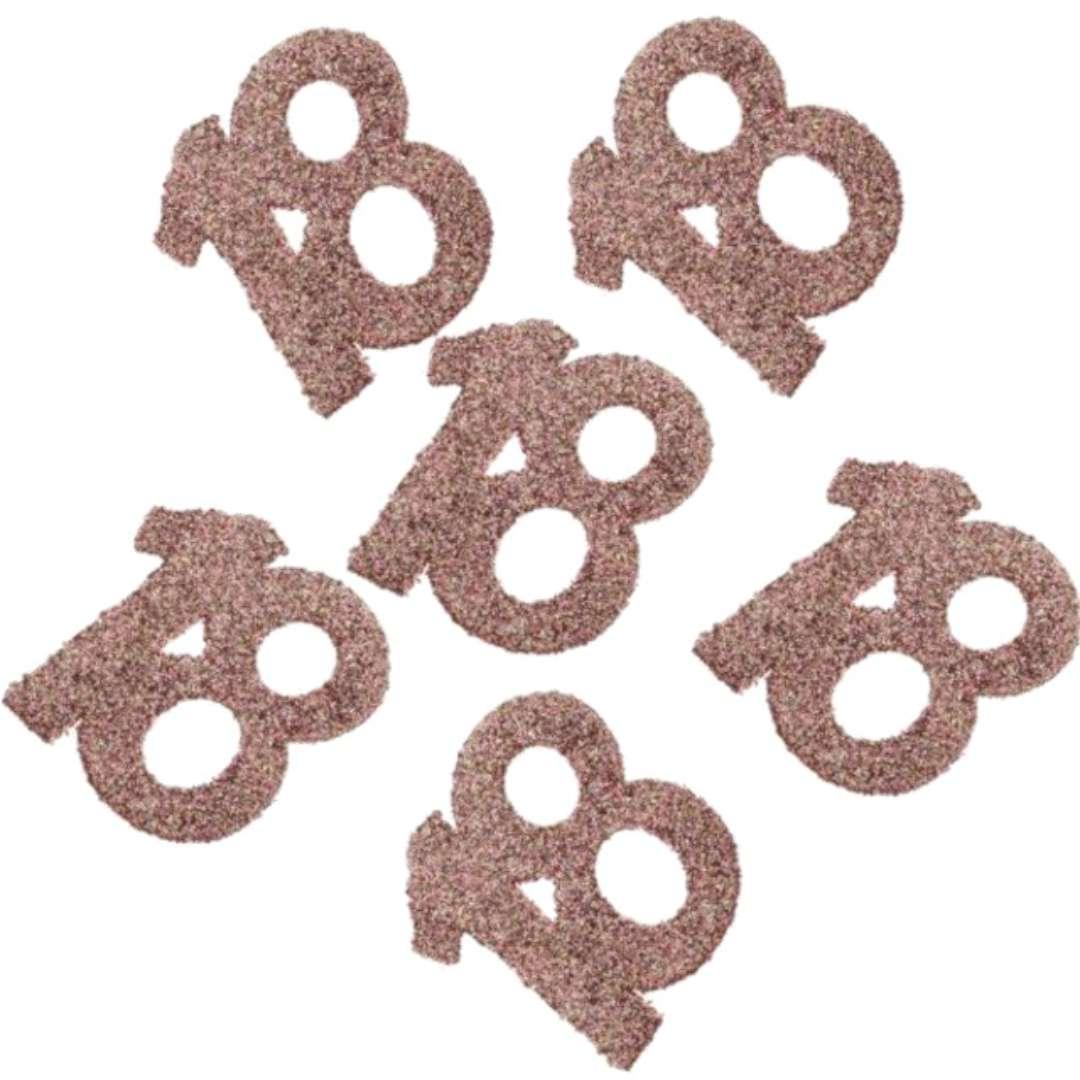 """Konfetti """"Brokatowa liczba 18"""", różowe złoto, Santex, 7 cm, 6 szt"""