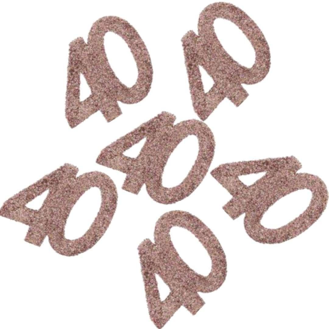 """Konfetti """"Brokatowa liczba 40"""", różowe złoto, Santex, 7 cm, 6 szt"""
