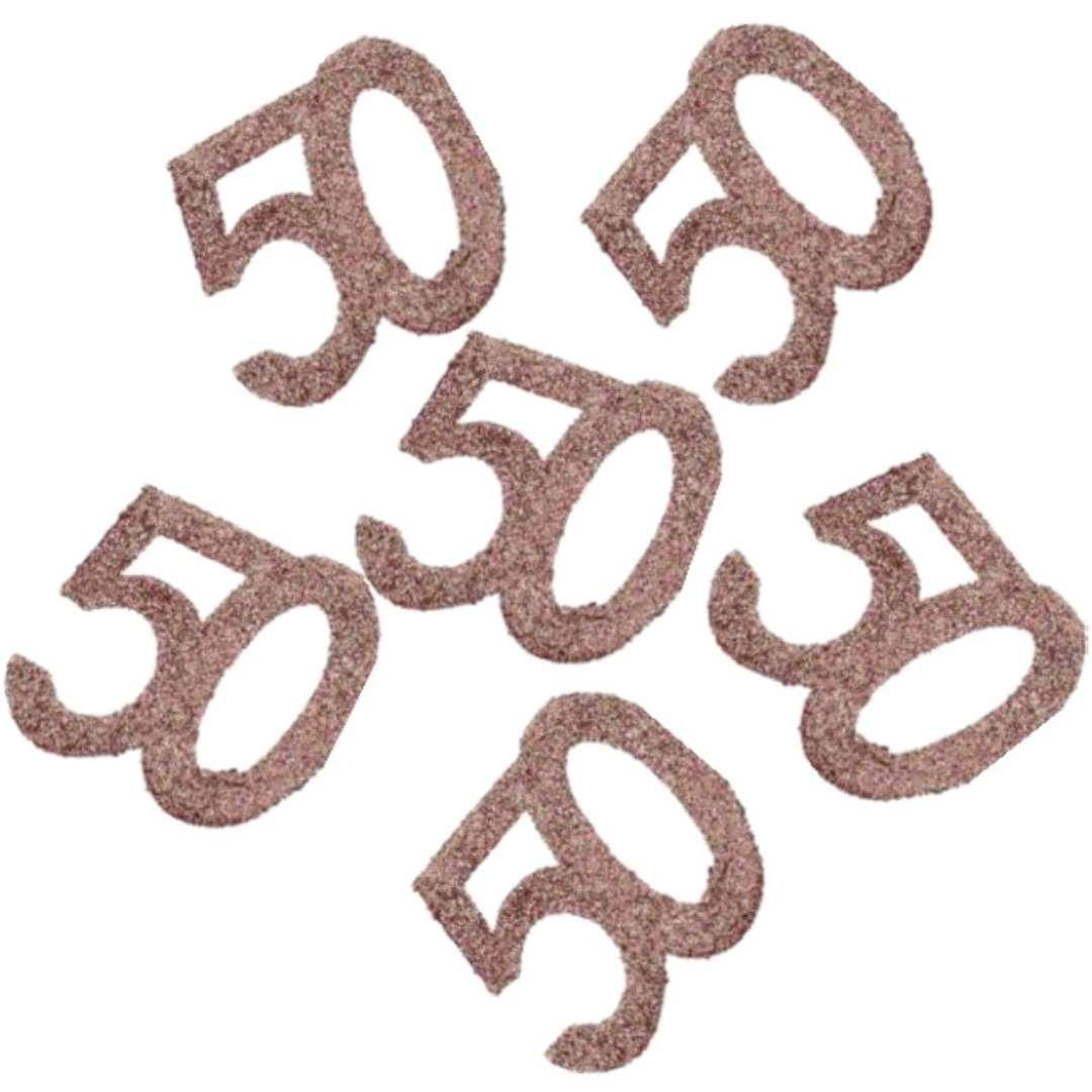 """Konfetti """"Brokatowa liczba 50"""", różowe złoto, Santex, 7 cm, 6 szt"""