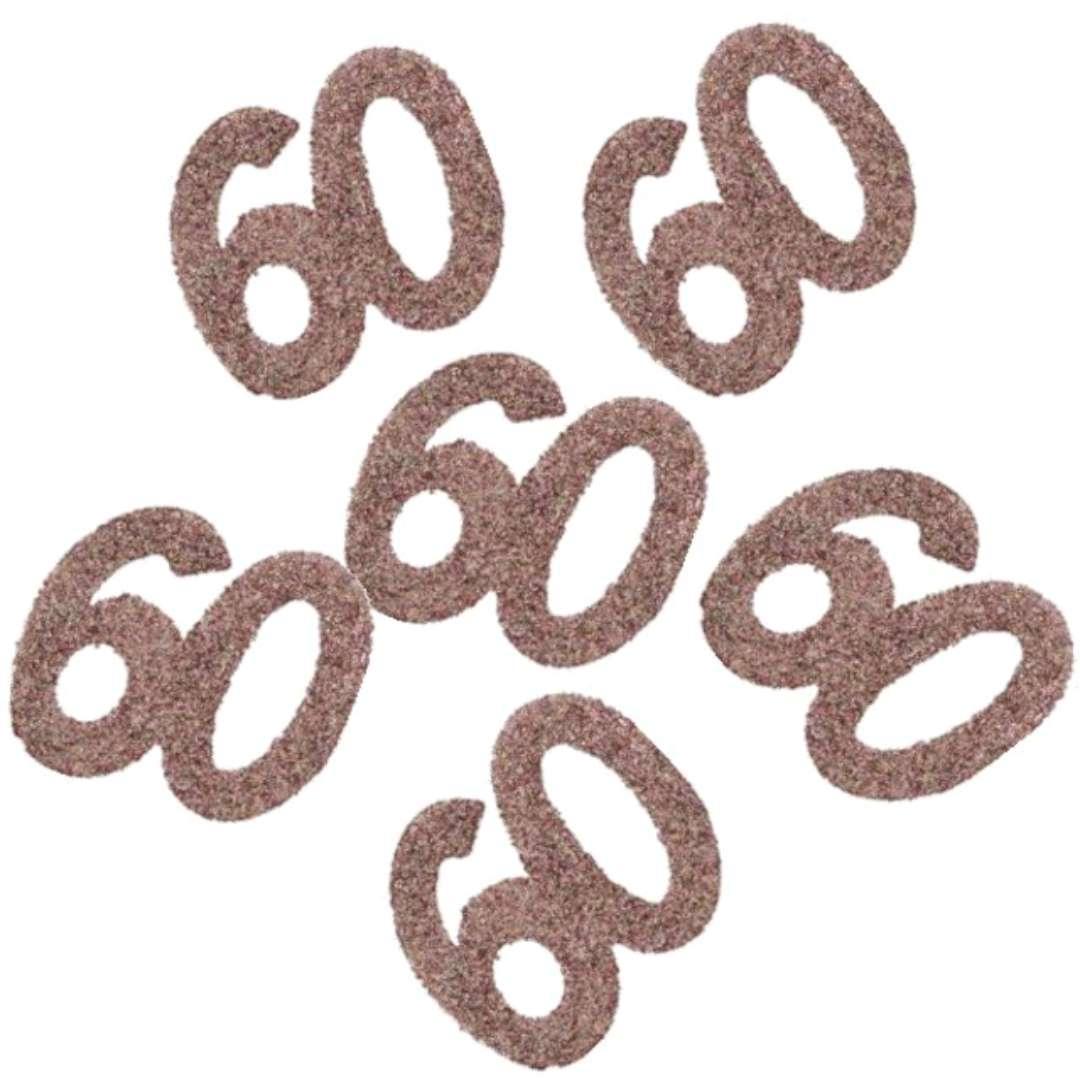 """Konfetti """"Brokatowa liczba 60"""", różowe złoto, Santex, 7 cm, 6 szt"""