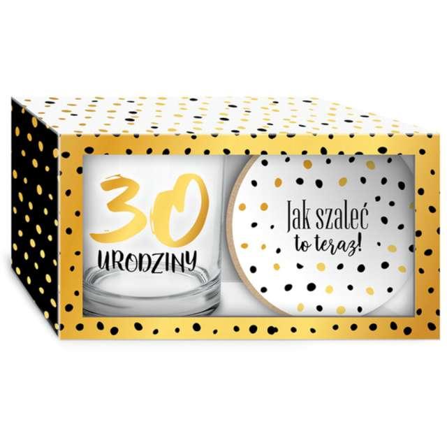 Szklanka Złote Kropki - 30 Urodziny z podkładką BGtech 270 ml