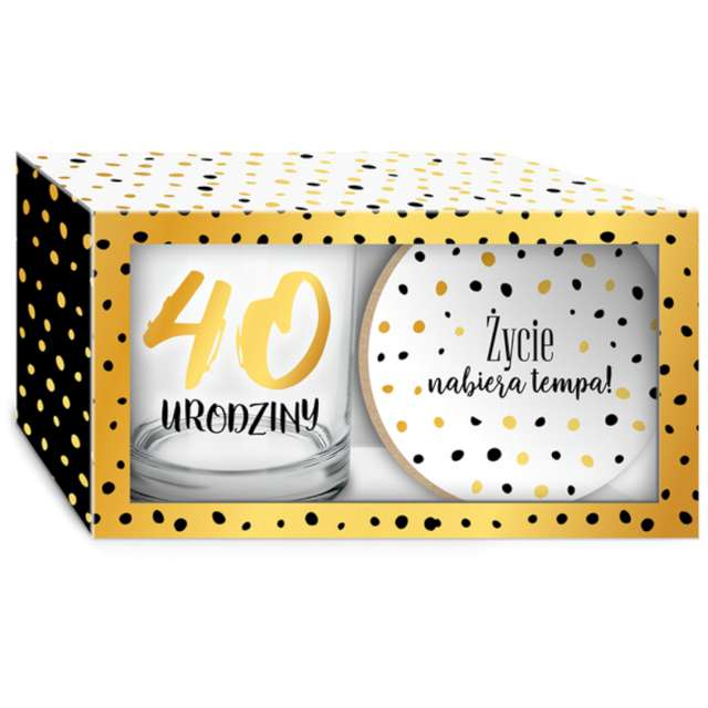 """Szklanka """"Złote Kropki - 40 Urodziny z podkładką"""", BGtech, 270 ml"""