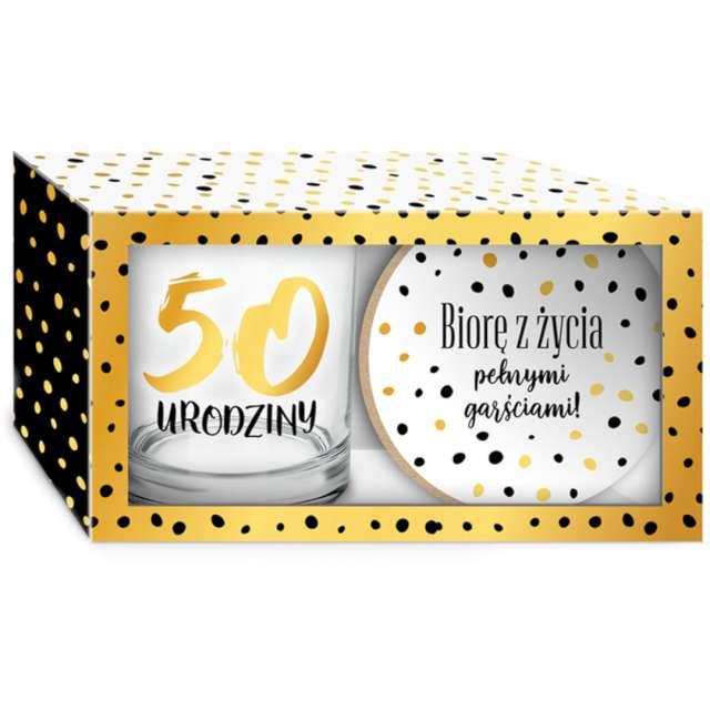 """Szklanka """"Złote Kropki - 50 Urodziny z podkładką"""", BGtech, 270 ml"""