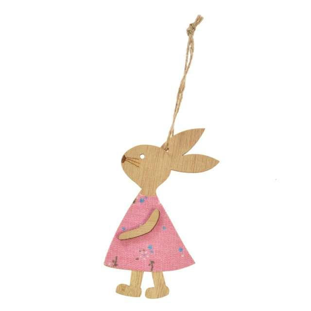 """Zawieszka drewniana """"Zajączek w różowej sukience"""", Arpex, 11cm"""