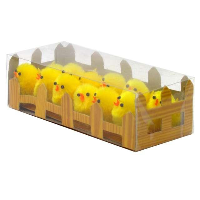 """Dekoracja """"Kurczaki żółte za płotkiem"""", 4 cm, Arpex, 12 szt"""