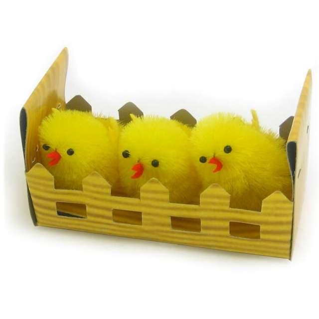 """Dekoracja """"Kurczaki żółte za płotkiem"""", 4 cm, Arpex, 3 szt"""