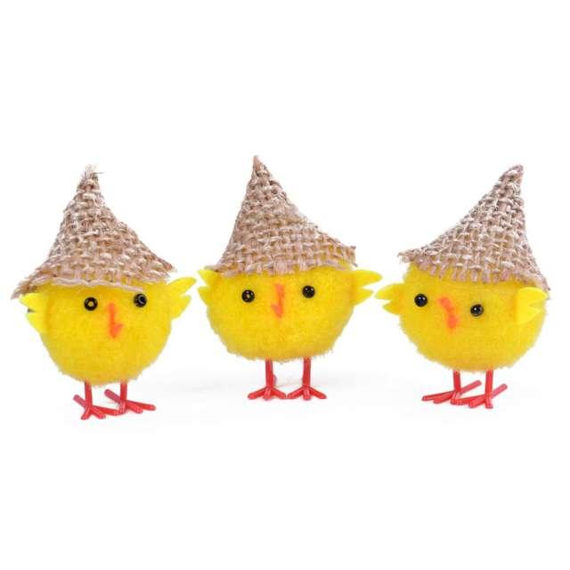 """Dekoracja """"Kurczaki w kapeluszach"""", 6 cm, Arpex, 3 szt"""