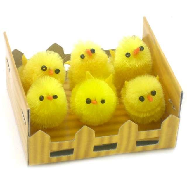 """Dekoracja """"Kurczaki żółte za płotkiem"""", 3 cm, Arpex, 6 szt"""