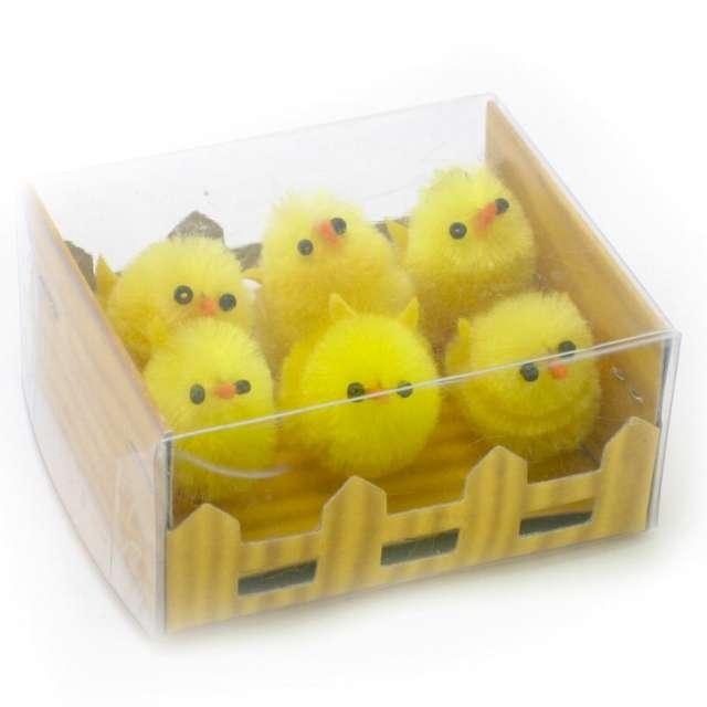 Dekoracja Kurczaki żółte za płotkiem 3 cm Arpex 6 szt