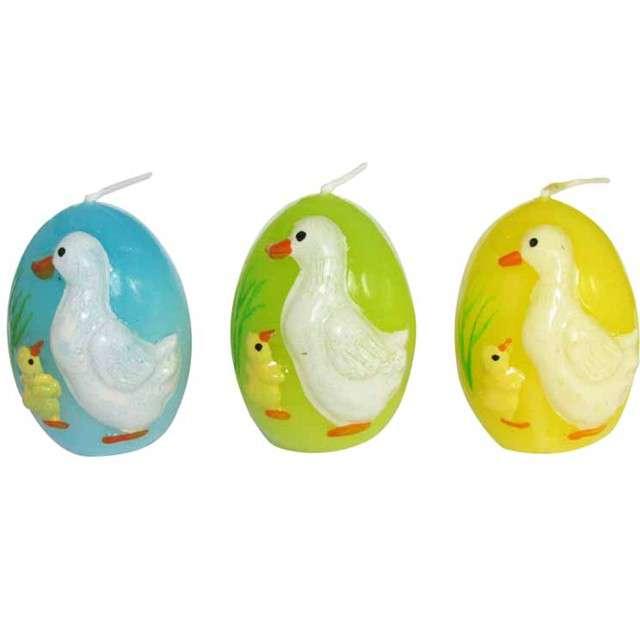 """Świeca """"Wielkanocne jajko w kaczuszki"""", mix, Arpex, 5,5cm, 3szt"""
