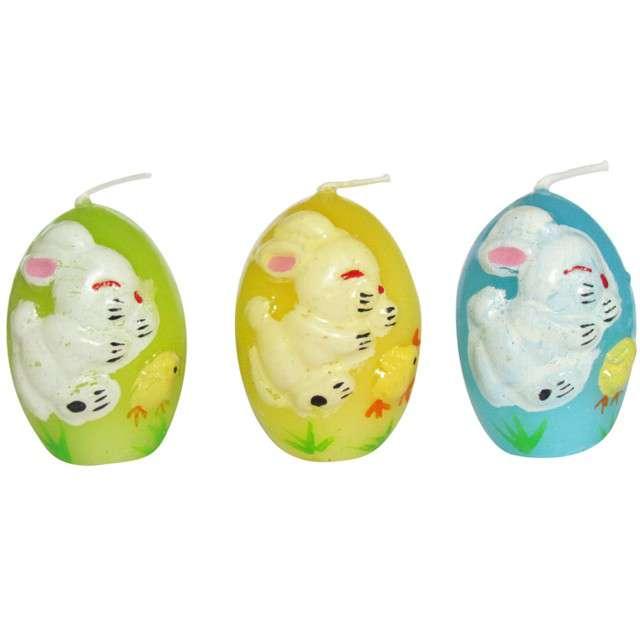 """Świeca """"Wielkanocne jajko w króliczki"""", mix, Arpex, 5,5cm, 3szt"""