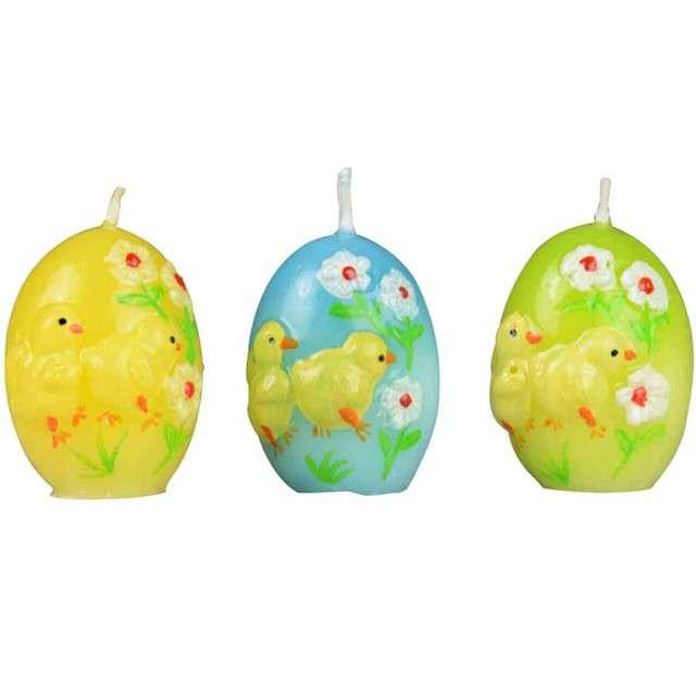 """Świeca """"Wielkanocne jajko w kurczaczki"""", mix, Arpex, 5,5cm, 3szt"""