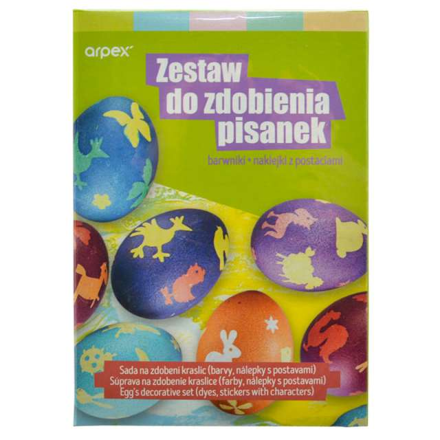 """Zestaw do zdobienia jajek """"Barwniki + naklejki"""", Arpex"""