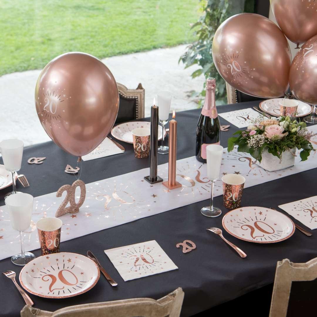 Balony foliowe Sparkling - Liczba 18 różowe złoto Santex 12 6 szt