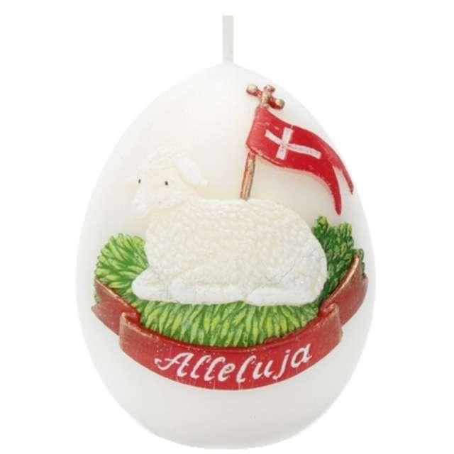 """Świeca """"Wielkanoc - jajko z barankiem"""", biała, Bartek-Candles, 100 mm"""