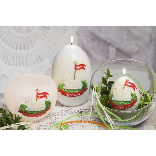 Lampion Wielkanocny baranek biała Bartek-Candles 120 mm