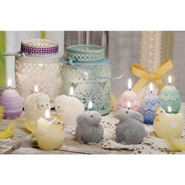 Świeca Wielkanoc - Pisanka Koronkowe romby różowa Bartek-Candles 50 mm